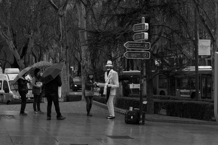 A street performer in Madrid, Spain